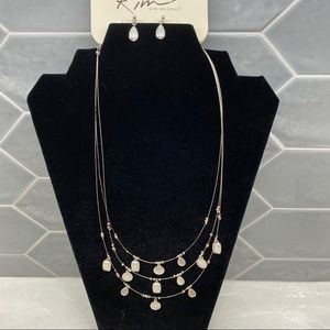 Layered Necklace set with Earrings sensitive ears